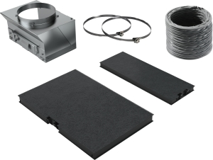 Siemens LZ10AFU00 Starterset für Umluftbetrieb Sonderzubehör Für Umluftbetrieb Bestehend aus Umluftweiche, Aktivkohlefilter (2 Stück), flex. Schlauch und Befestigungsmaterial