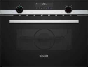 Siemens CM585AMS0 Kompaktbackofen mit Mikrowelle 45cm schwarz/Edelst. Grill 15Programme Led.Beleuchtung