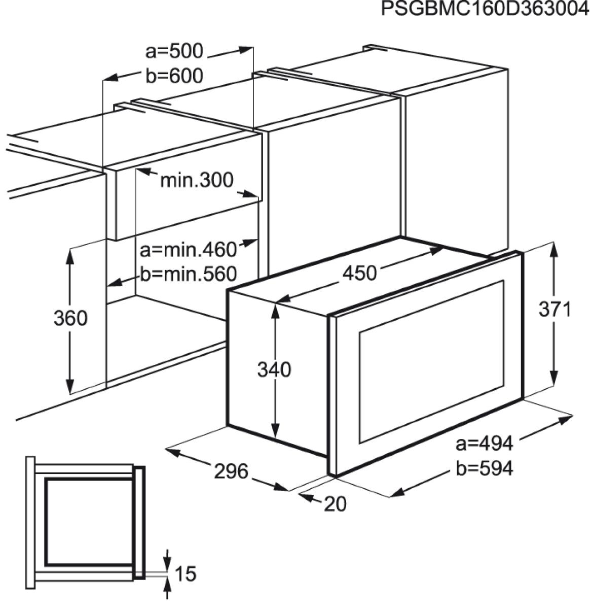 aeg mbb1755d m einbau mikrowelle edelstahl nur f r 50cm breiten oberschrank h ngeschrank. Black Bedroom Furniture Sets. Home Design Ideas
