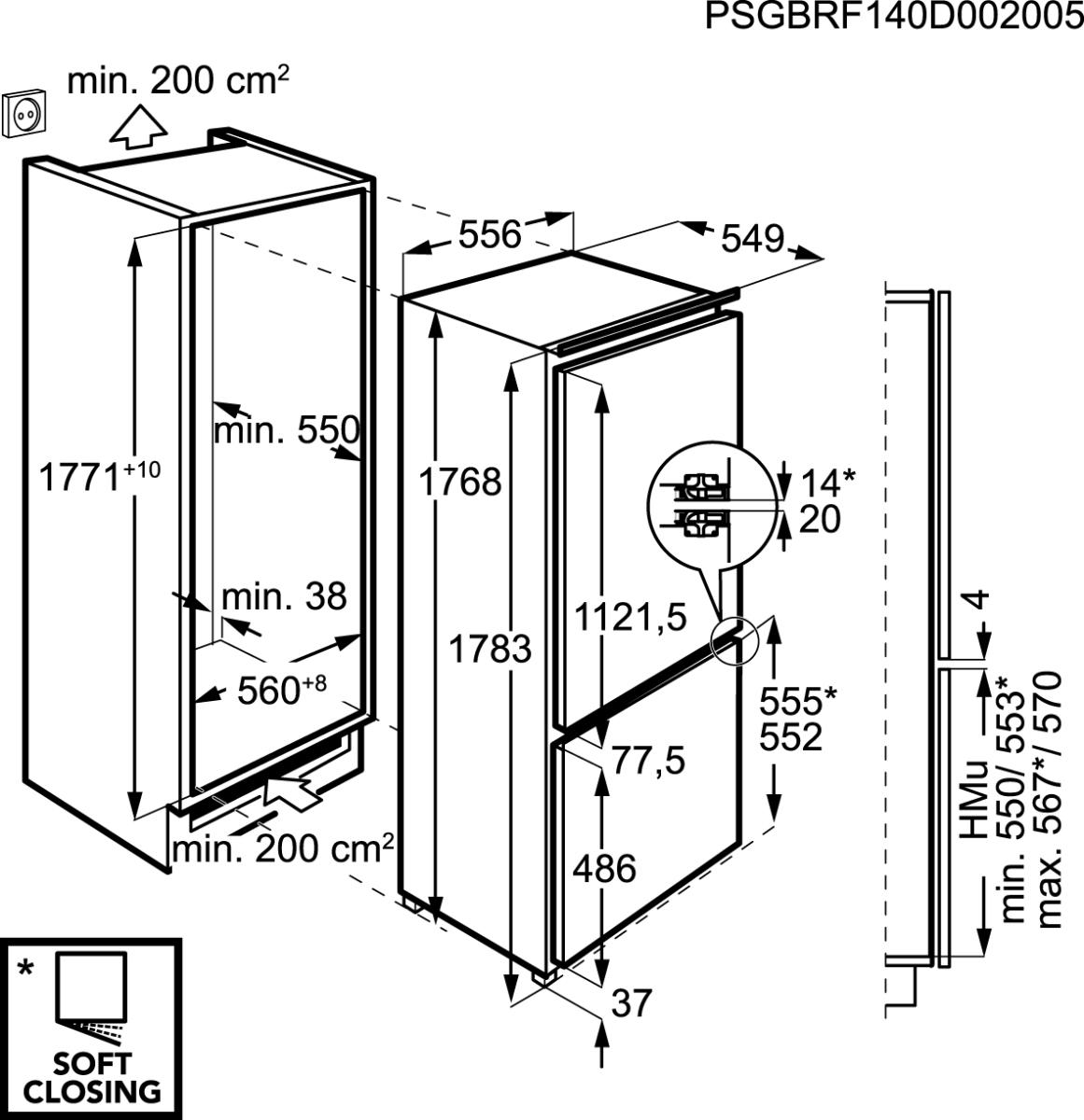 aeg sce81826zc einbau k hl gefrierkombination 178cm festt r technik 0 grad zone a led. Black Bedroom Furniture Sets. Home Design Ideas
